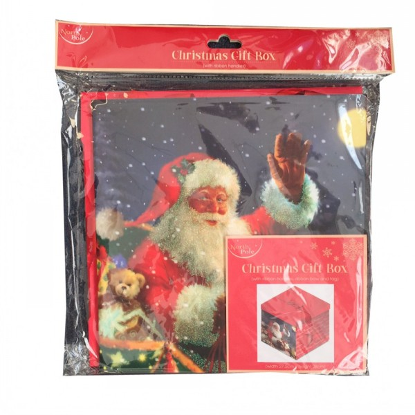 christmas gift box with ribbon handles santa designs proper job